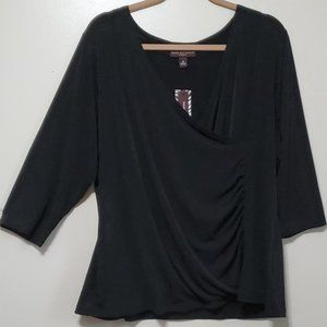 Dana Buchman Black Stretch V-Front Stretch Top 2X